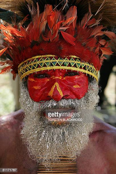 Joseph Paia of the Jika Mukuga wears a headdress adorned with sea of birdofparadise feathers during the annual singsing cultural festival in Mount...