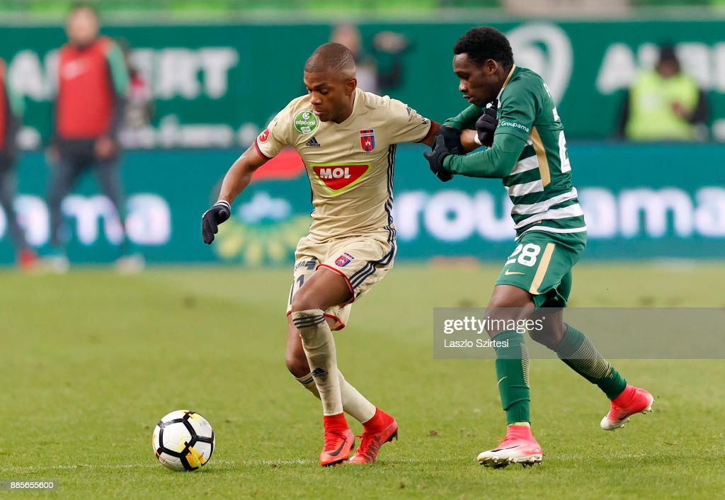 Joseph Paintsil #28 of Ferencvarosi TC fights for the ball with Loic Nego (L) of Videoton FC during the Hungarian OTP Bank Liga match between Ferencvarosi TC and Videoton FC at Groupama Arena on December 2, 2017 in Budapest, Hungary.