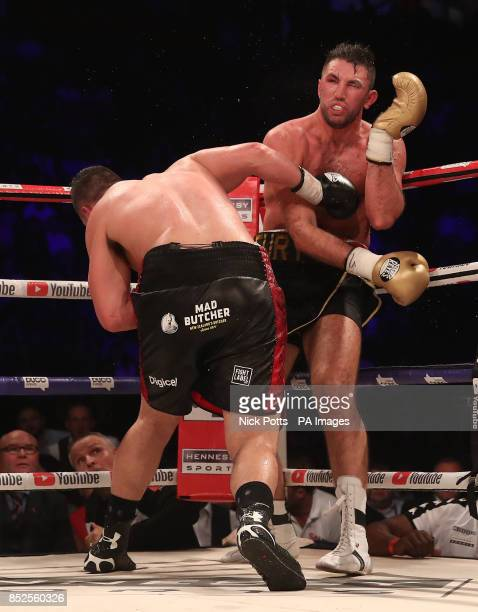 Joseph Parker and Hughie Fury during the WBO World Heavyweight Title bout at Manchester Arena PRESS ASSOCIATION Photo Picture date Saturday September...