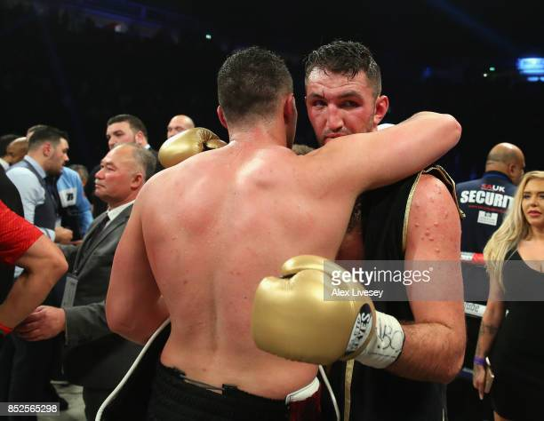 Joseph Parker and Hughie Fury embrace after the WBO World Heavyweight Title fight at Manchester Arena on September 23 2017 in Manchester England