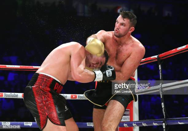 Joseph Parker and Hughie Fury trade punches during the WBO World Heavyweight Title fight at Manchester Arena on September 23 2017 in Manchester...