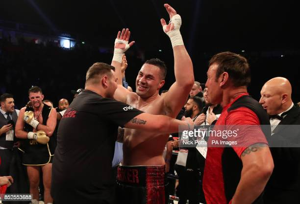 Joseph Parker celebrates victory over Hughie Fury after the WBO World Heavyweight Title bout at Manchester Arena