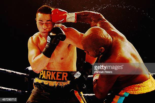 Joseph Parker fights Sherman Williams during the Heavyweight title bout between Joseph Parker and Sherman Williams at Trusts Stadium on October 16...