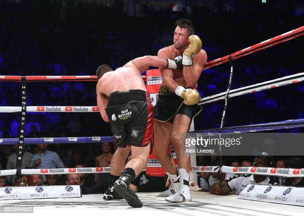 Joseph Parker lands a right shot on Hughie Fury during the WBO World Heavyweight Title fight at Manchester Arena on September 23 2017 in Manchester...