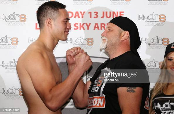 Joseph Parker of New Zealand and Francois Botha of South Africa face off during the weigh in ahead of tomorrow night's bout between Joseph Parker and...
