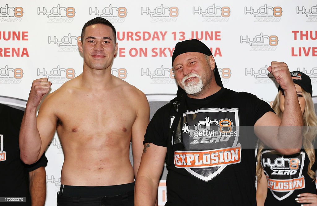 Joseph Parker of New Zealand (L) and <a gi-track='captionPersonalityLinkClicked' href=/galleries/search?phrase=Francois+Botha&family=editorial&specificpeople=220516 ng-click='$event.stopPropagation()'>Francois Botha</a> of South Africa pose during the weight in ahead of tomorrow night's bout between Joseph Parker and <a gi-track='captionPersonalityLinkClicked' href=/galleries/search?phrase=Francois+Botha&family=editorial&specificpeople=220516 ng-click='$event.stopPropagation()'>Francois Botha</a> at Trusts Stadium on June 12, 2013 in Auckland, New Zealand.
