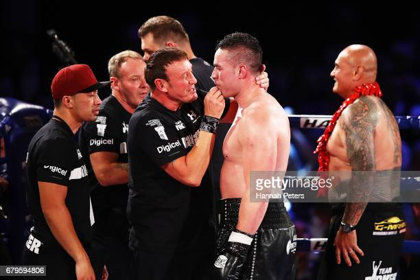 Joseph Parker of New Zealand celebrates after beating Razvan Cojanu of Romania for the WBO Heavyweight Title at Vodafone Events Centre on May 6 2017...
