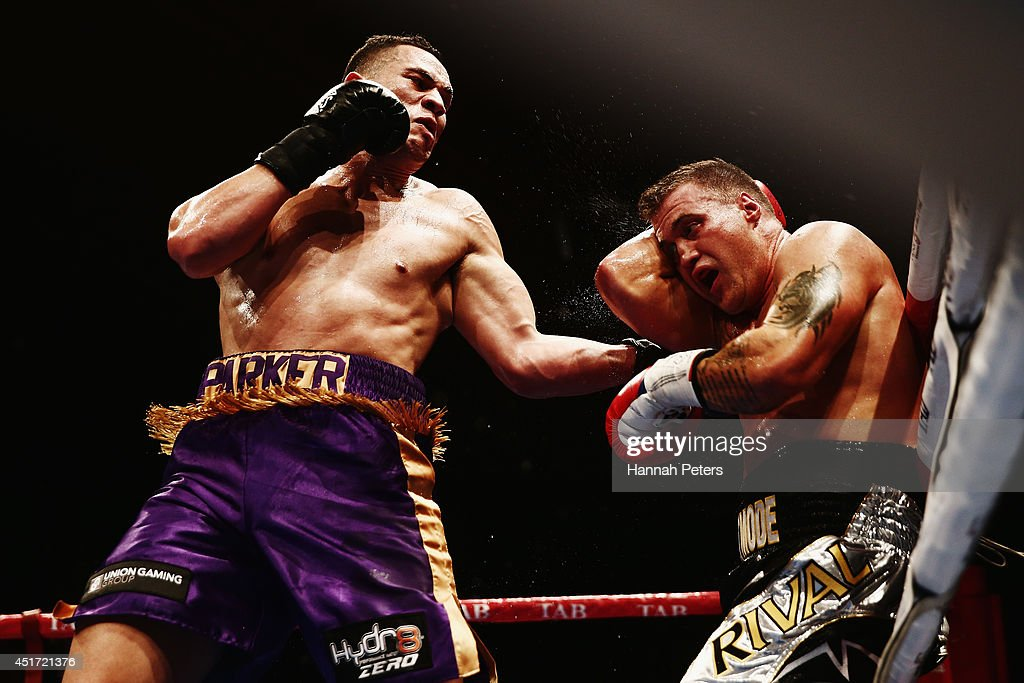 Joseph Parker of New Zealand fights <a gi-track='captionPersonalityLinkClicked' href=/galleries/search?phrase=Brian+Minto&family=editorial&specificpeople=2218396 ng-click='$event.stopPropagation()'>Brian Minto</a> of USA during the New Zealand Heavyweight bout between Joseph Parker and <a gi-track='captionPersonalityLinkClicked' href=/galleries/search?phrase=Brian+Minto&family=editorial&specificpeople=2218396 ng-click='$event.stopPropagation()'>Brian Minto</a> at Vodafone Events Centre on July 5, 2014 in Auckland, New Zealand.