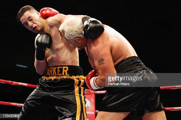 Joseph Parker of New Zealand fights Francois Botha of South Africa during the Heavyweight Title fight at Trusts Stadium on June 13 2013 in Auckland...
