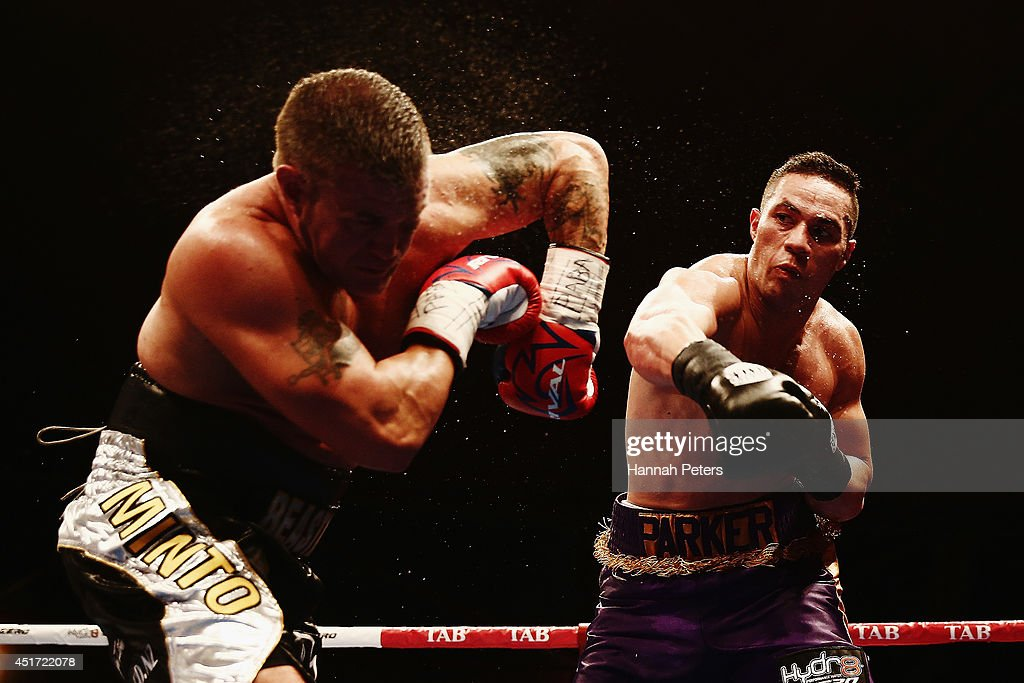 Joseph Parker of New Zealand knocks Brian Minto of USA out during the New Zealand Heavyweight bout between Joseph Parker and Brian Minto at Vodafone...