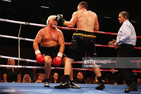 Joseph Parker of New Zealand knocks Francois Botha of South Africa out during the Heavyweight Title fight at Trusts Stadium on June 13 2013 in...
