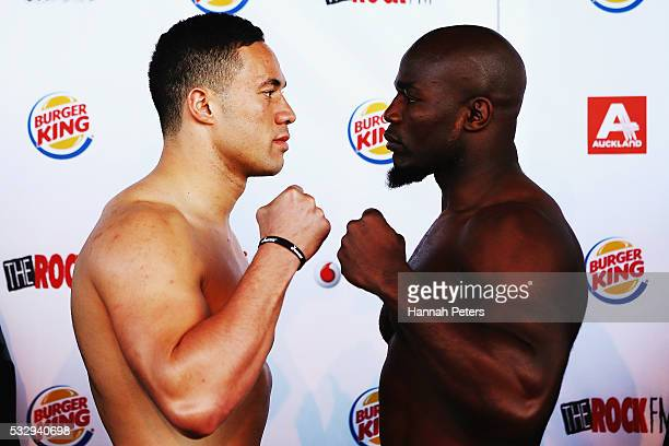 Joseph Parker poses for a photo with Carlos Takam during the weigh in at Vodafone Events Centre Manukau on May 20 2016 in Auckland New Zealand