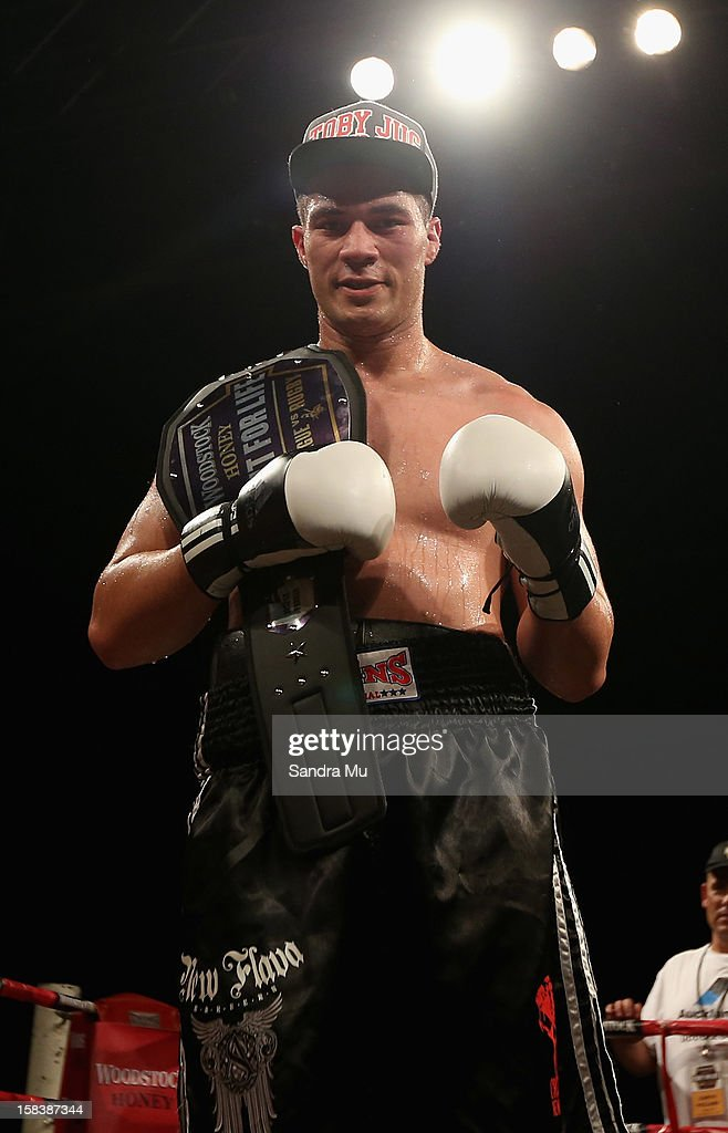 Joseph Parker poses with his title belt after winning the professional bout between Joseph Parker and Richard Tutaki during the 2012 Fight for Life at Trusts Stadium on December 15, 2012 in Auckland, New Zealand.
