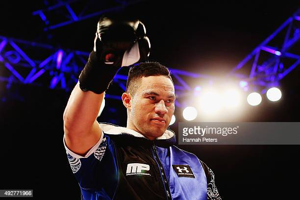 Joseph Parker waits to fight Kali Meehan during the Main Heavyweight bout between Joseph Parker of New Zealand and Kali Meehan of Australia at The...