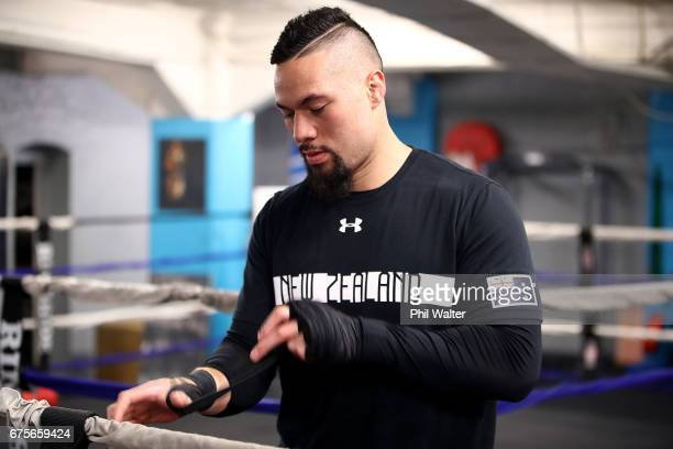 Joseph Parker wraps his hands before a training session on May 2 2017 in Auckland New Zealand Parker will fight Razvan Cojanu in Auckland on Saturday