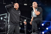 Joseph Rev Run Simmons and Darryl DMC McDaniels of Run–DMC perform during Budweiser Made In America Festival Benefiting The United Way Day 2 at...
