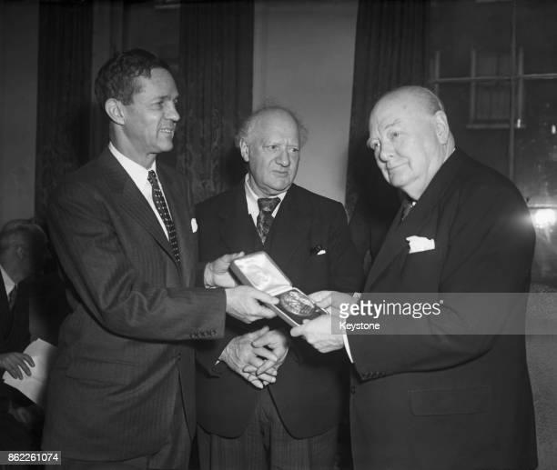 Joseph S Clark Jr the Mayor of Philadelphia presents the Philadelphia Franklin Medal to Sir Winston Churchill in London 11th January 1956 Between...