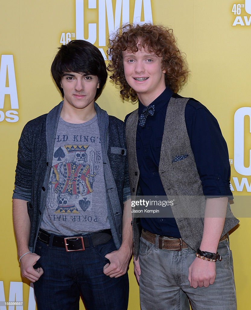 Joseph Santoro and Marcus Wanner winners from the 'Keep the Music Playing' program attend the 46th annual CMA Awards at the Bridgestone Arena on November 1, 2012 in Nashville, Tennessee.