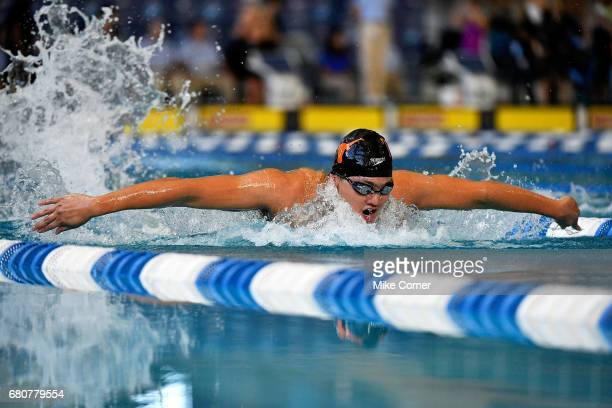 Joseph Schooling races to a secondplace finish in the Men's 200m Butterfly during day four of the Arena Pro Swim Series swim meet at the Georgia Tech...