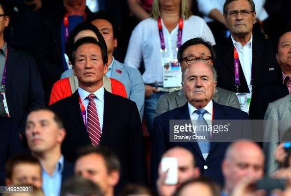 Joseph Sepp Blatter President of FIFA and the Korean FA President looks on during the Men's Football Semi Final match between Korea and Brazil on Day...