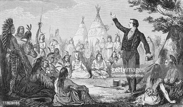 Joseph Smith 1805 to 1844 Founder of the Mormon Church preaching to Indians