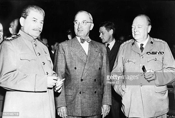 Joseph Stalin Harry Truman and Winston Churchill during the conference of Potsdam Germany Liberation of France World War II Private Collection
