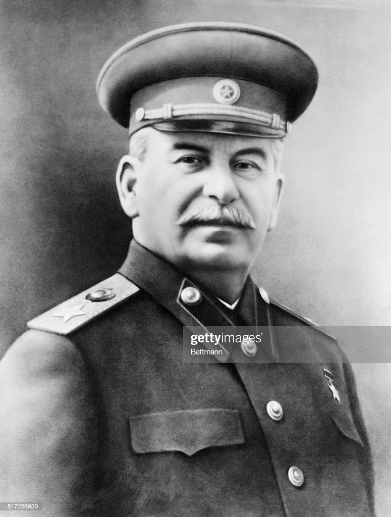 Joseph Stalin, Premier of the Union of Soviet Socialist Republics in military uniform. This official portrait was printed in Soviet newspapers in connection with the 34th anniversary of the founding of the USSR.