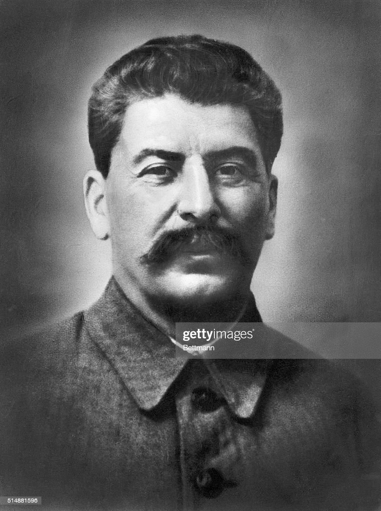 Joseph Stalin (1879-1953). Russian revolutionary and head of the USSR from 1924-1953. Head and shoulders portrait, undated.