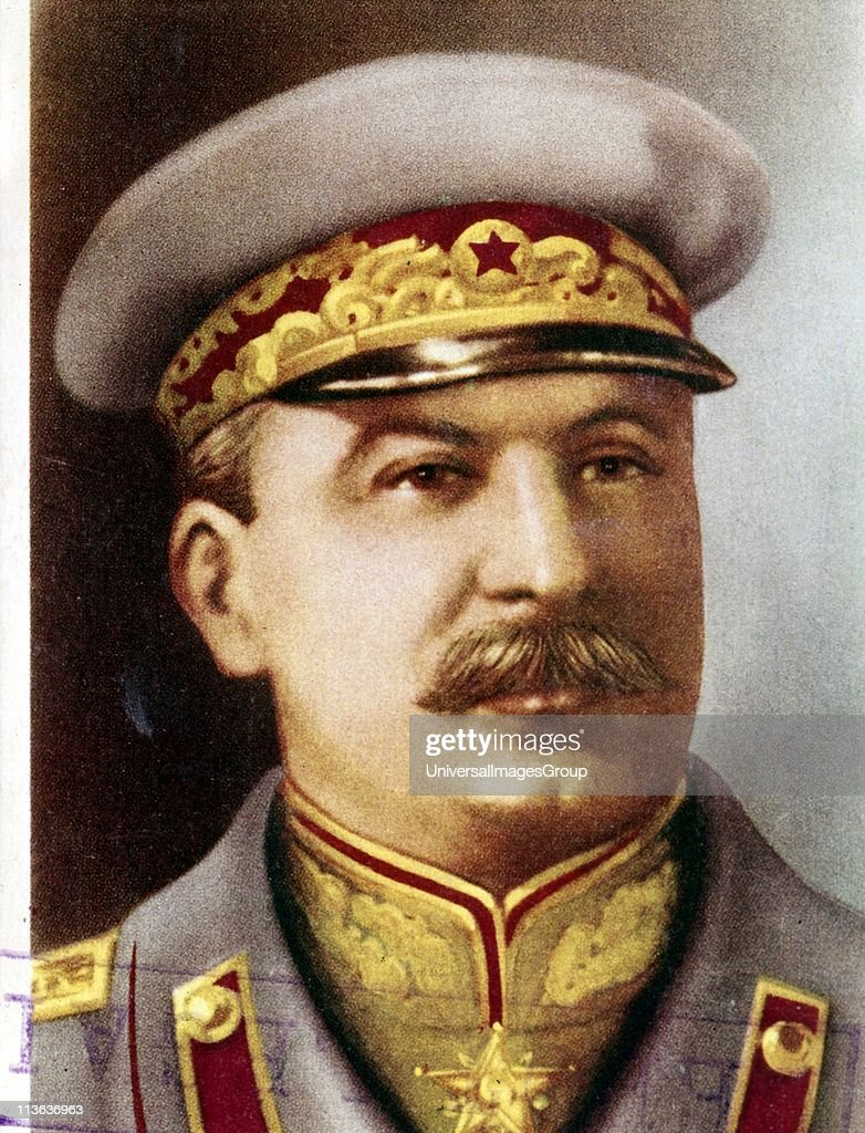 <a gi-track='captionPersonalityLinkClicked' href=/galleries/search?phrase=Joseph+Stalin&family=editorial&specificpeople=91259 ng-click='$event.stopPropagation()'>Joseph Stalin</a>, Soviet leader, c1945. Head and shoulders portrait of Stalin in military uniform. Born Iosif Vissarionovich Dzhugashvili, Stalin (1879-1953) became General Secretary of the Central Committee of the Russian Communist Party in 1922, and after the death of Lenin in 1924, effectively became ruler of the Soviet Union. Stalin's rule saw massive social and economic upheaval. Soviet Russia was transformed into a major economic and military power, but millions died as a result of agricultural collectivization, political repression and in the struggle against Nazi Germany in the Second World War.
