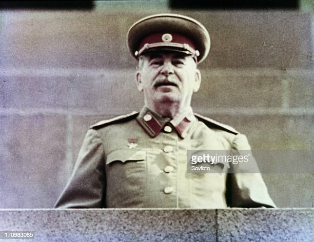 Joseph stalin watching the may day parade from lenin's tomb in red square moscow ussr