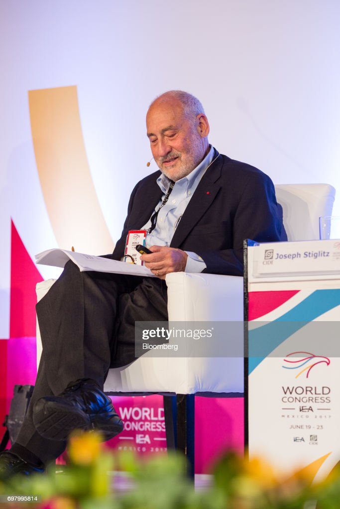 Joseph Stiglitz, economist and professor at Columbia University School of International & Public Affairs, looks at paperwork during the International Economic Association (IEA) World Congress event in Mexico City, Mexico, on Monday, June 19, 2017. The theme of the congress is Globalization, Growth and Sustainability. Photographer: Brett Gundlock/Bloomberg via Getty Images