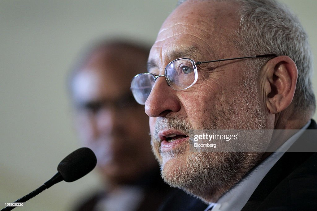 <a gi-track='captionPersonalityLinkClicked' href=/galleries/search?phrase=Joseph+Stiglitz&family=editorial&specificpeople=630561 ng-click='$event.stopPropagation()'>Joseph Stiglitz</a>, Nobel prize-winning economist and professor of economics at Columbia University, speaks during the C.D. Deshmukh Memorial Lecture in Mumbai, India, on Thursday, Jan. 3, 2013. India's current-account deficit widened to $22.31 billion in the three months to Sept. 30 as a faltering global economy hurt exports, the Reserve Bank of India said Dec. 31. Photographer: Dhiraj Singh/Bloomberg via Getty Images