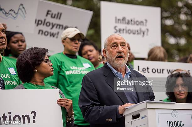 Joseph Stiglitz Nobel prizewinning economist and professor of economics at Columbia University speaks during a protest held by the Fed Up Coalition...