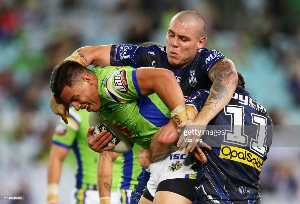 Joseph Tapine of the Raiders is tackled by David Klemmer of the Bulldogs during the round nine NRL match between the Canterbury Bulldogs and the Canberra Raiders at ANZ Stadium on April 29, 2017 in Sydney, Australia.