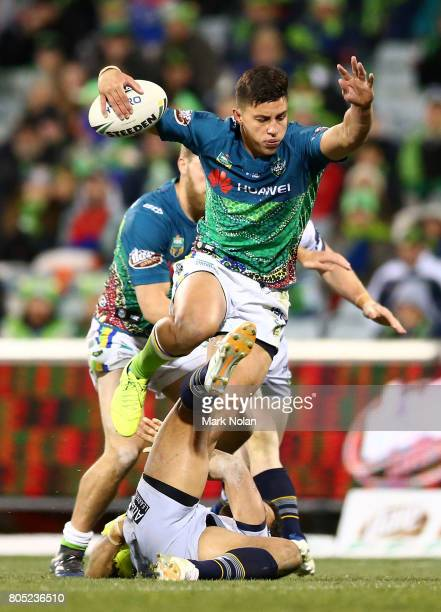 Joseph Tapine of the Raiders maeks a line break during the round 17 NRL match between the Canberra Raiders and the North Queensland Cowboys at GIO...
