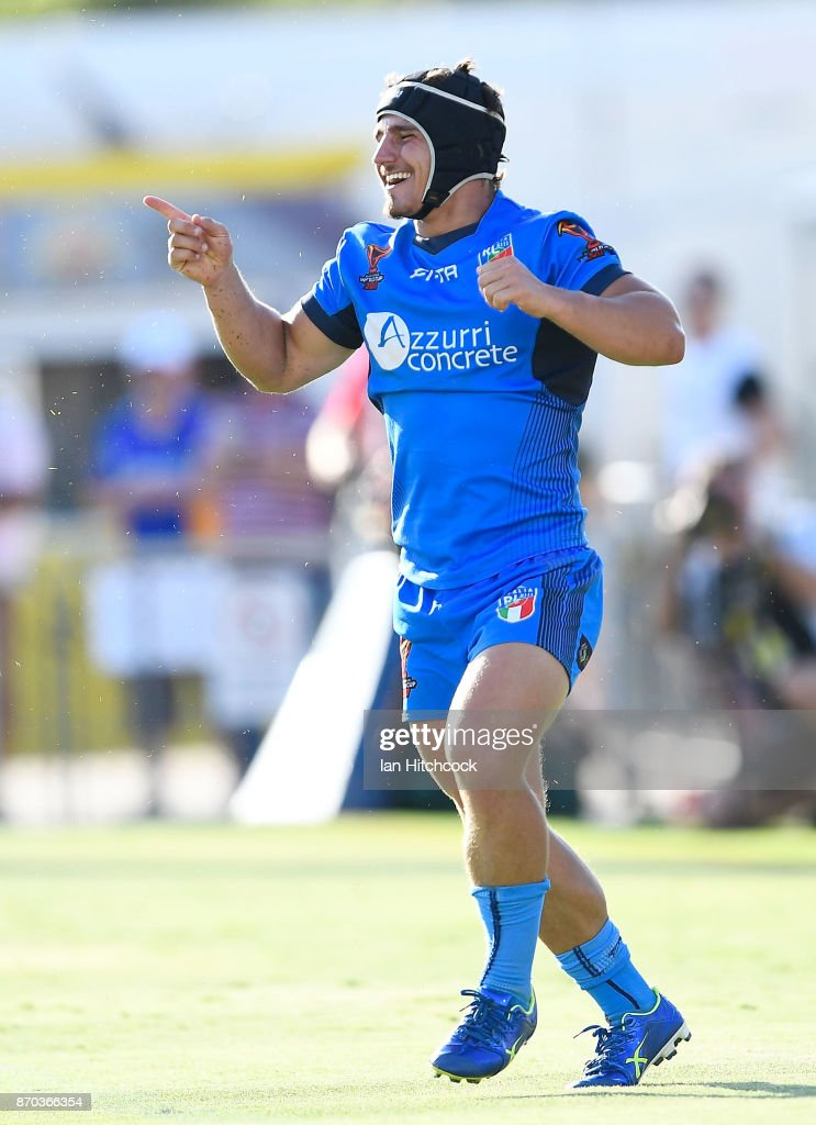 Joseph Tramontana of Italy celebrates after scoring a try during the 2017 Rugby League World Cup match between Italy and the USA at 1300SMILES Stadium on November 5, 2017 in Townsville, Australia.