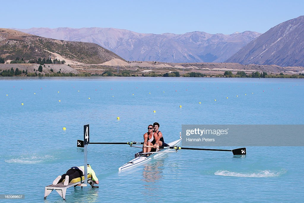 Joseph Trappitt and Tufi Sele of Central compete in the Men's Premier 2- heat during the New Zealand Rowing Championships at Lake Ruataniwha on February 19, 2013 in Twizel, New Zealand.