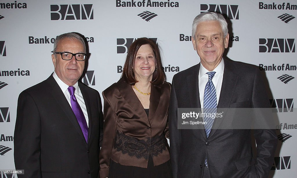 Joseph V. Melillo, Karen Brooks Hopkins and Gary G. Lynch attend the 2014 BAM Theater gala at Skylight One Hanson on February 6, 2014 in the Brooklyn borough of New York City.
