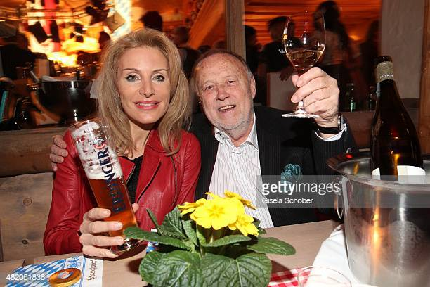 Joseph Vilsmaier and his girlfriend Birgit Muth during the Weisswurstparty at Hotel Stanglwirt on January 23 2015 in Going Austria
