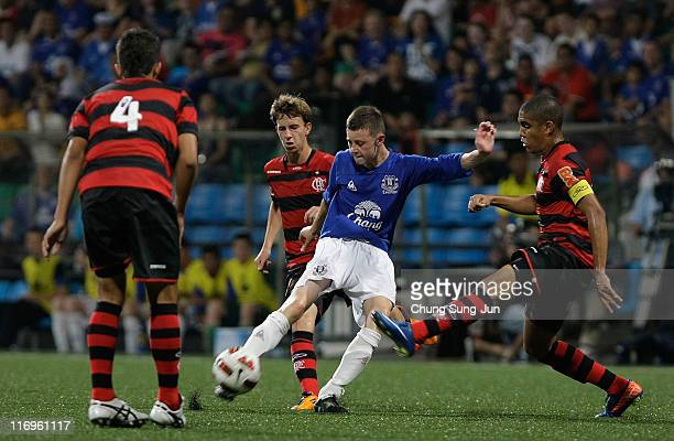 Joseph Williams of Everton FC controls the ball during the 2011 Canon Lion City Cup match between Everton FC and CR Flamengo at Jalan Besar Stadium...