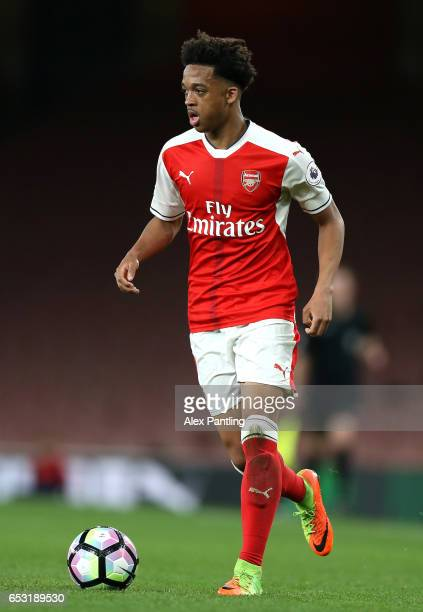 Joseph Willock of Arsenal in action during the Premier League 2 match between Arsenal and Manchester City at Emirates Stadium on March 13 2017 in...