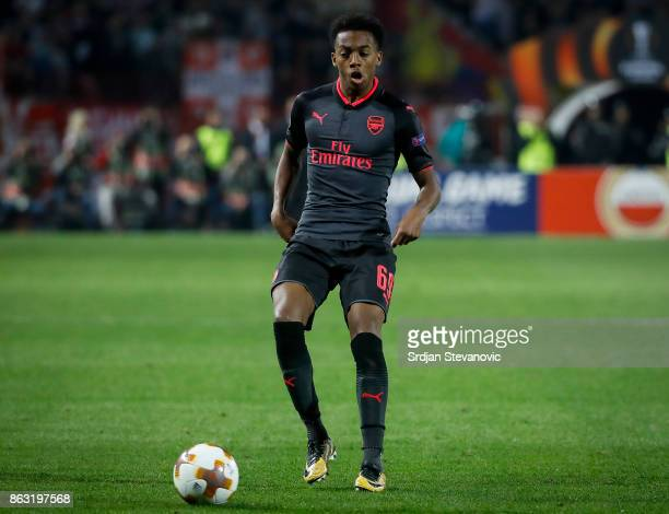 Joseph Willock of Arsenal in action during the UEFA Europa League group H match between Crvena Zvezda and Arsenal FC at Rajko Mitic Stadium on...