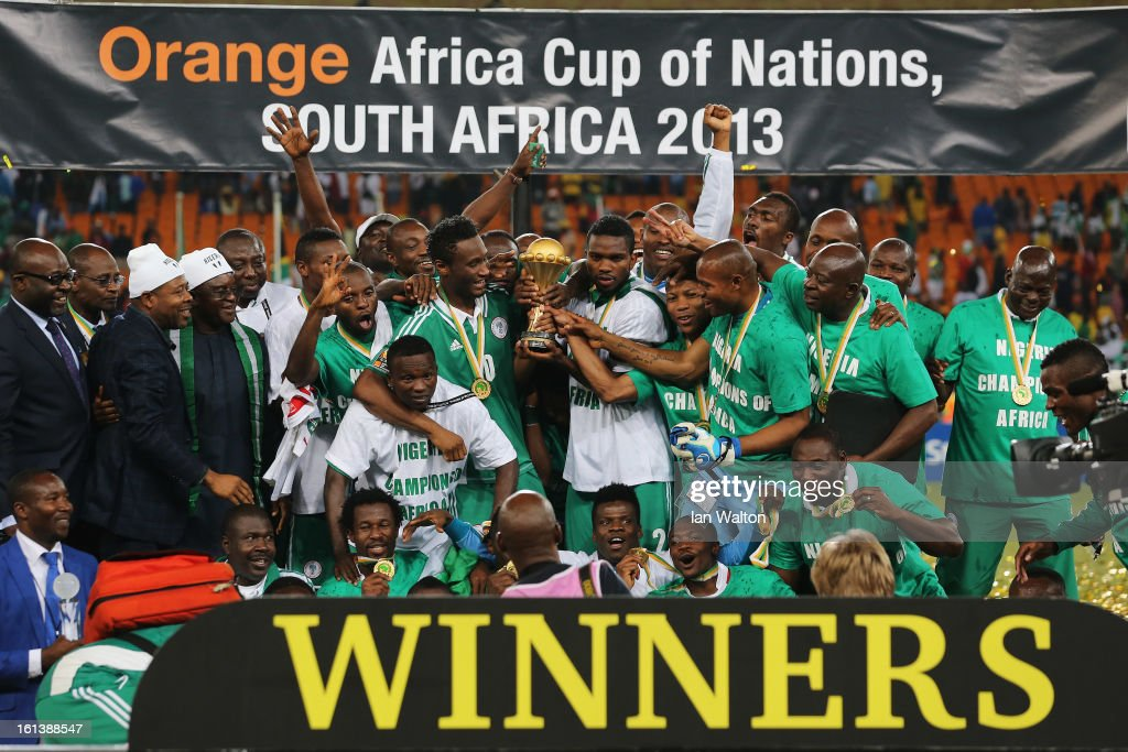 Joseph Yobo and team mates celebrate with the trophy after winning the 2013 Africa Cup of Nations Final match between Nigeria and Burkina at FNB Stadium on February 10, 2013 in Johannesburg, South Africa.
