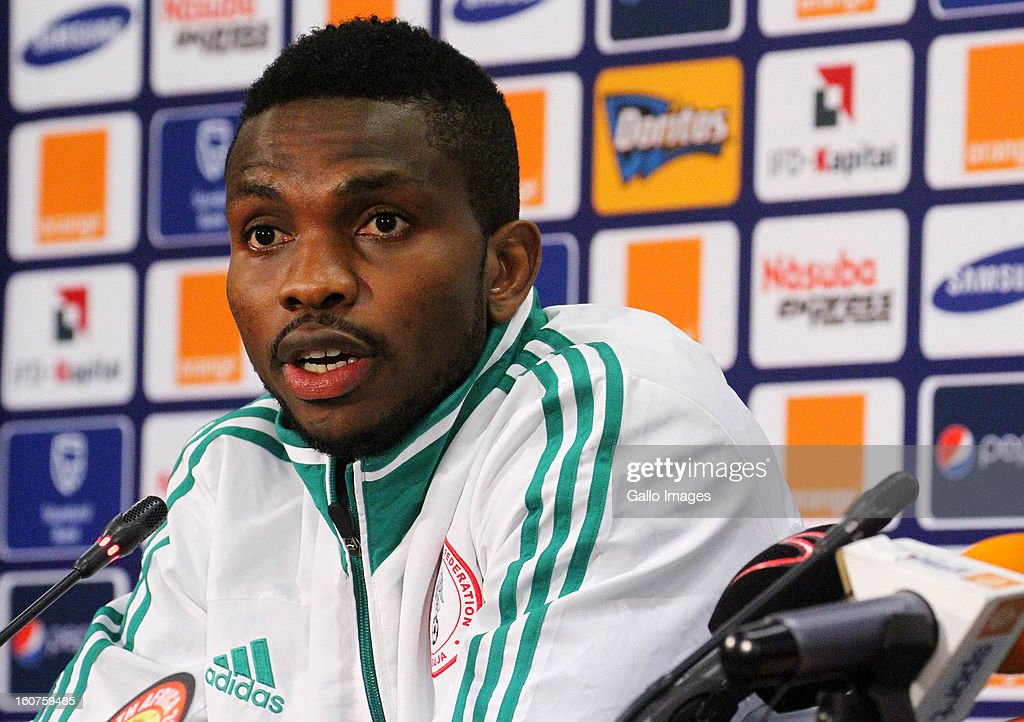 <a gi-track='captionPersonalityLinkClicked' href=/galleries/search?phrase=Joseph+Yobo&family=editorial&specificpeople=220395 ng-click='$event.stopPropagation()'>Joseph Yobo</a> looks on during a Nigeria press conference at Moses Mabhida Stadium on Februay 05, 2013 in Durban, South Africa.