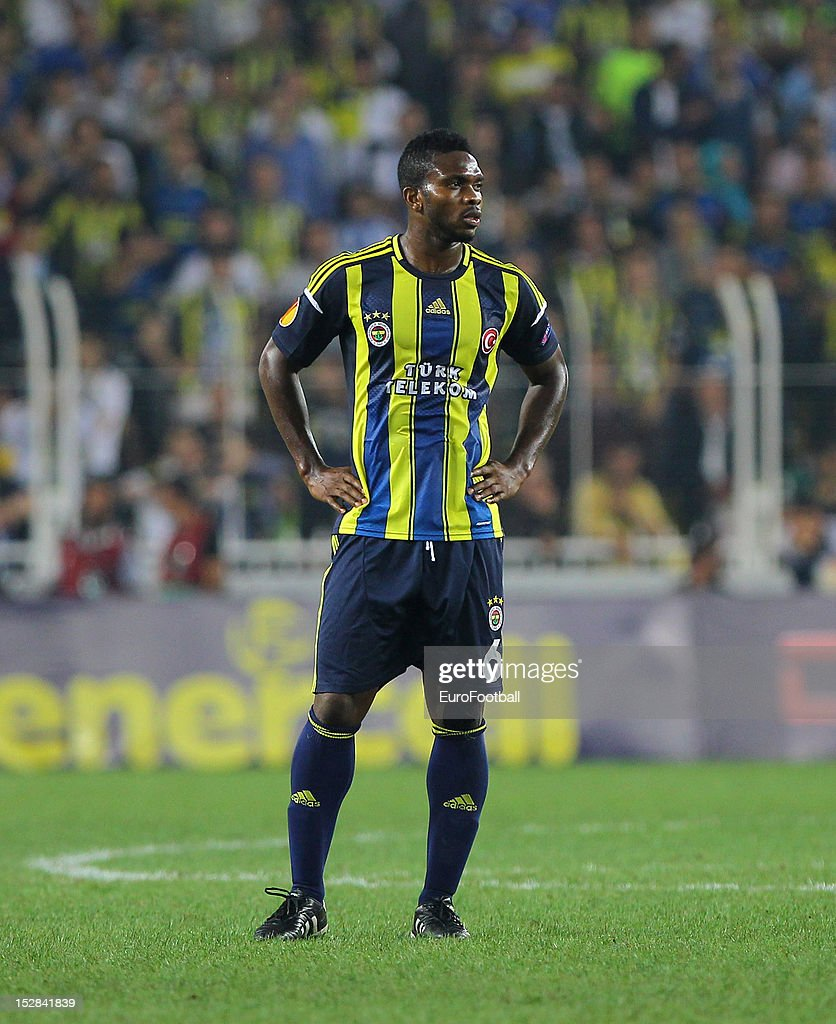 <a gi-track='captionPersonalityLinkClicked' href=/galleries/search?phrase=Joseph+Yobo&family=editorial&specificpeople=220395 ng-click='$event.stopPropagation()'>Joseph Yobo</a> of Fenerbahce SK in action during the UEFA Europa League group stage match between Fenerbahce SK and Olympique de Marseille on September 20, 2012 at Sukru Saracoglu in Istanbul, Turkey.