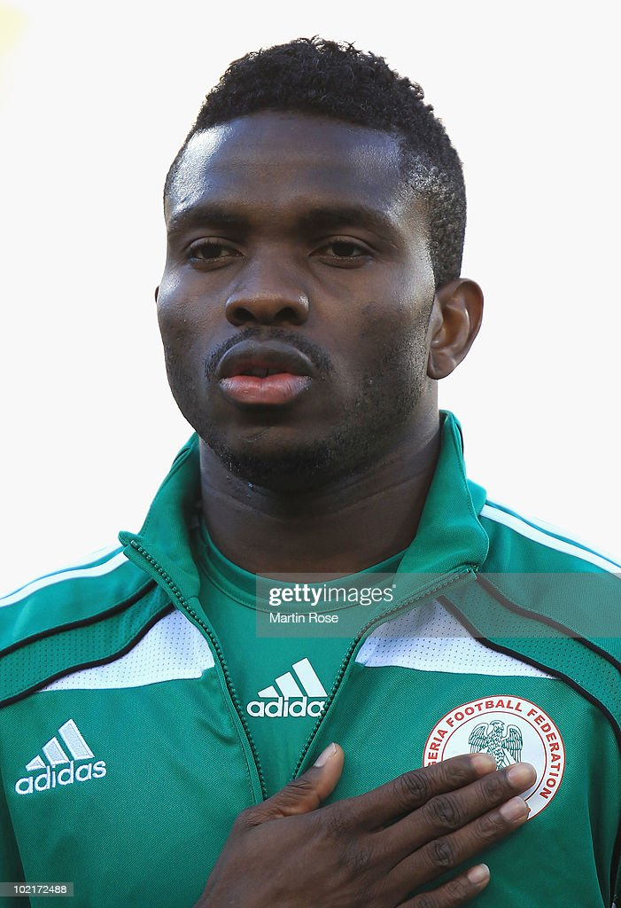 <a gi-track='captionPersonalityLinkClicked' href=/galleries/search?phrase=Joseph+Yobo&family=editorial&specificpeople=220395 ng-click='$event.stopPropagation()'>Joseph Yobo</a> of Nigeria ahead of the 2010 FIFA World Cup South Africa Group B match between Greece and Nigeria at the Free State Stadium on June 17, 2010 in Mangaung/Bloemfontein, South Africa.