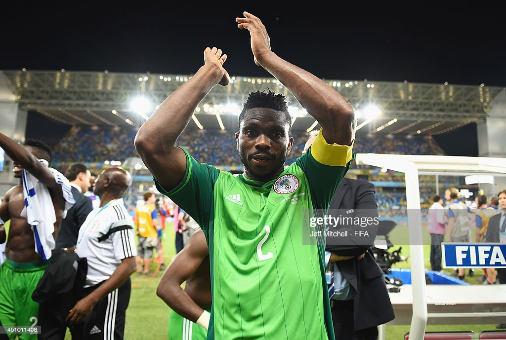 <a gi-track='captionPersonalityLinkClicked' href=/galleries/search?phrase=Joseph+Yobo&family=editorial&specificpeople=220395 ng-click='$event.stopPropagation()'>Joseph Yobo</a> of Nigeria celebrates the 1-0 win after the 2014 FIFA World Cup Brazil Group F match between Nigeria and Bosnia-Herzegovina at Arena Pantanal on June 21, 2014 in Cuiaba, Brazil.