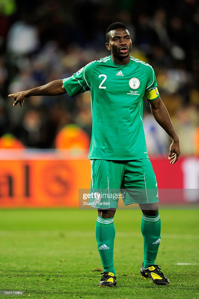 <a gi-track='captionPersonalityLinkClicked' href=/galleries/search?phrase=Joseph+Yobo&family=editorial&specificpeople=220395 ng-click='$event.stopPropagation()'>Joseph Yobo</a> of Nigeria gestures during the 2010 FIFA World Cup South Africa Group B match between Greece and Nigeria at the Free State Stadium on June 17, 2010 in Mangaung/Bloemfontein, South Africa.