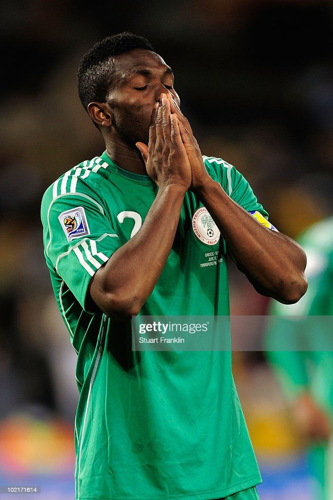 <a gi-track='captionPersonalityLinkClicked' href=/galleries/search?phrase=Joseph+Yobo&family=editorial&specificpeople=220395 ng-click='$event.stopPropagation()'>Joseph Yobo</a> of Nigeria is dejected after the 2010 FIFA World Cup South Africa Group B match between Greece and Nigeria at the Free State Stadium on June 17, 2010 in Mangaung/Bloemfontein, South Africa.