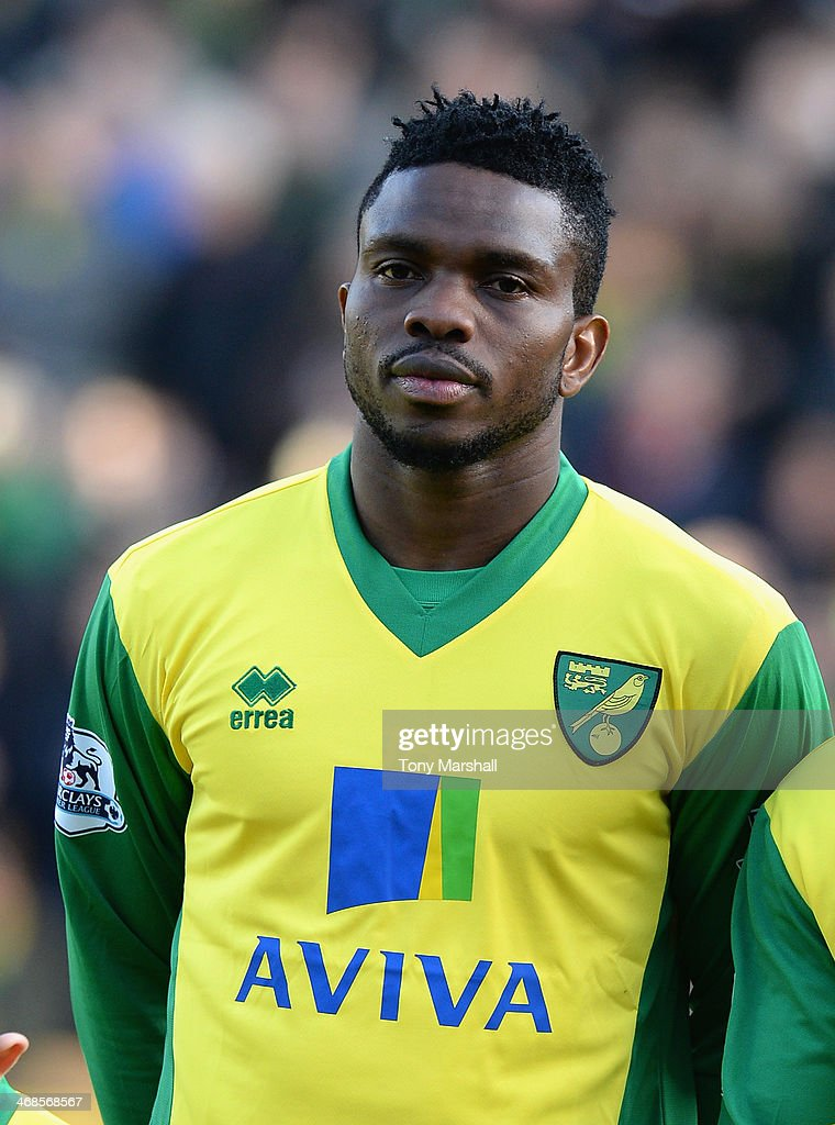 <a gi-track='captionPersonalityLinkClicked' href=/galleries/search?phrase=Joseph+Yobo&family=editorial&specificpeople=220395 ng-click='$event.stopPropagation()'>Joseph Yobo</a> of Norwich City during the Barclays Premier League match between Norwich City and Manchester City at Carrow Road on February 8, 2014 in Norwich, England.